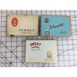LOT OF 3 FLAT 50 CIGARETTE TINS * TURRET, PLAYERS, SWEET CAPORAL *
