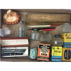LOT OF 'VINTAGE WRITING RELATED, INKS, PENCIL CASE, FOUNTAIN PENS