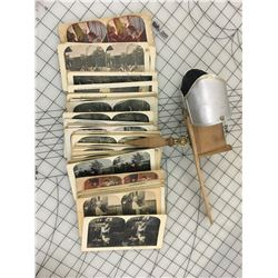 ANTIQUE' STEREOSCOPE & CARD LOT