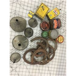 LOT OF SHOP RELATED TINS, HORSESHOES, FUNNELS