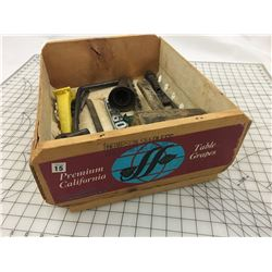 GRAPE BOX WITH OIL SPOUTS, TOOLS ETC