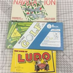 VINTAGE BOARD GAMES * NAVIGATION, METRIC GOLF, LUDO *