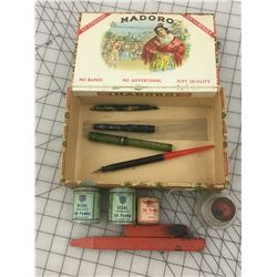 CIGAR BOX WITH OLD WRITING RELATED * FOUNTAIN PEN, INK TINS *
