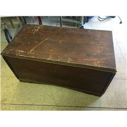 "HOMEMADE WOODEN CHEST 34 1/2"" X 18"" X 17"""