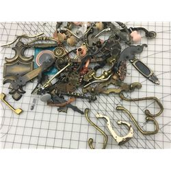 LOT OF OLD BRASS HOOKS, HINGES, DRAWER PULLS ETC.