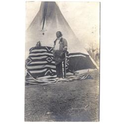 Ute before tipi. Photo postcard, matte print.