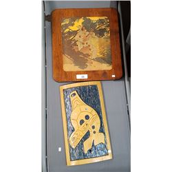 CARVED NATIVE PLAQUE & WOOD WALL PLAQUE