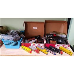 3 BOXES OF MODEL TRAIN PARTS, TRACKS, ACCESSORIES ETC