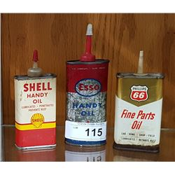 3 VINTAGE SHELL, ESSO, & PHILLIPS 66 HANDY OILERS