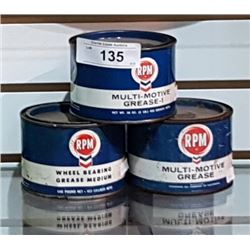 3 VINTAGE RPM 1LB GREASE TINS