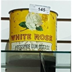 VINTAGE WHITE ROSE GREASE CAN