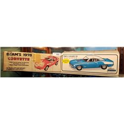 2 VINTAGE CAMARO & CORVETTE JIM BEAM DECANTER BOXES
