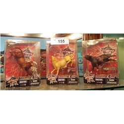 3 PBR COLLECTIBLE BULL FIGURES