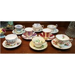 8 BONE CHINA TEACUPS/SAUCERS