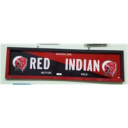 RED INDIAN MOTOR OIL METAL W/WOOD FRAME SIGN