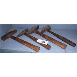 4 ANTIQUE WOOD HANDLE HAMMERS