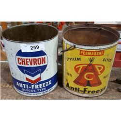 2 VINTAGE CHEVRON & TCP ANTIFREEZE TINS 1G