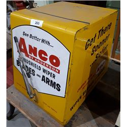 VINTAGE AMCO WINDSHIELD WIPER BLADES METAL COUNTER TOP DISPLAY CABINET W/CONTENTS