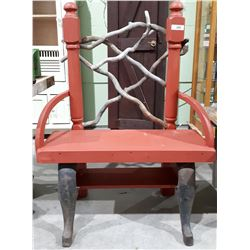 CUSTOM BENCH PLANT STAND W/DRIFTWOOD ACCENTS & CAST IRON STOVE LEGS