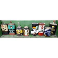 8 ASSORTED VINTAGE WHIZ TINS