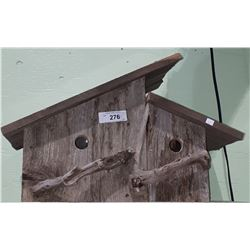 BARNWOOD DOUBLE BIRD HOUSE W/DRIFTWOOD ACCENTS