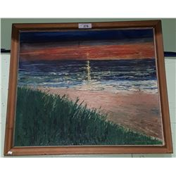 VINTAGE OIL ON CANVAS SUNSET PAINTING SIGNED V. SENVER