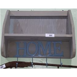 COUNTRY WALL SHELF W/COAT HOOKS