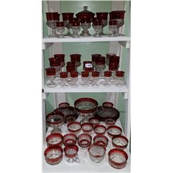 APPROX 60 PCS VINTAGE KING'S CROWN RUBY FLASH GLASS