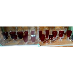 SHELF LOT COLLECTIBLE RUBY GLASS & CRYSTAL