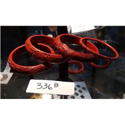 4 ASIAN CINNABAR BANGLES