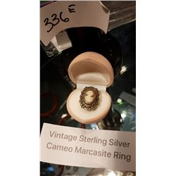 VINTAGE STERLING SILVER/MARCASITE CAMEO RING
