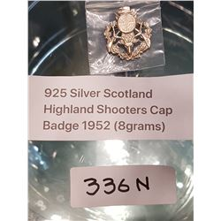 .925 SILVER SCOTLAND HIGHLAND SHOOTERS CAP BADGE 1952