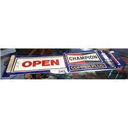 VINTAGE CHAMPION SPARK PLUGS OPEN SIGN