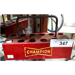 VINTAGE CHAMPION SPARK PLUGS METAL HOLDER
