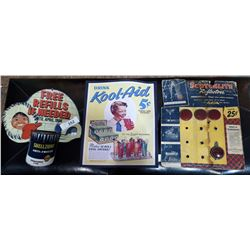 3 ASSORTED CARDBOARD ADVERTISEMENTS