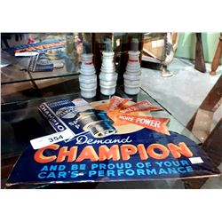 CHAMPION SPARK PLUGS CARDBOARD ADVERTISEMENTS & 3 CHAMPION SPARK PLUG PROMOTIONAL BOTTLES