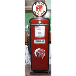 VINTAGE GILBARCO RED INDIAN GAS PUMP RESTORED