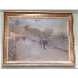 LARGE GILT FRAMED OIL ON CANVAS SIGNED AXEL HOUS