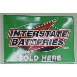 ORIGINAL INTERSTATE BATTERIES EMBOSSED TIN SIGN