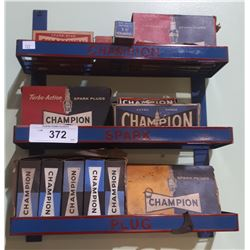 CHAMPION SPARK PLUG RACK W/ ORIGINAL SPARK PLUGS