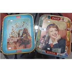 2 VINTAGE COCA COLA METAL SERVING TRAYS