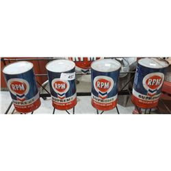 4 VINTAGE RPM SUPREME MOTOR OIL QUARTS