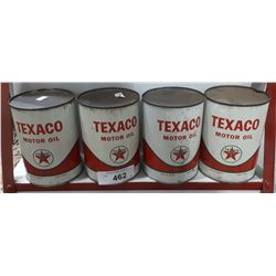 4 VINTAGE TEXACO MOTOR OIL QUARTS