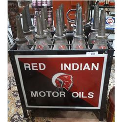 RED INDIAN OIL BOTTLE RACK & 15 OIL BOTTLES