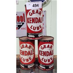 3 1940'S KENDALL GEAR LUBE TINS