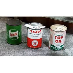 3 VINTAGE TEXACO CASTROL KLEEN FLO OIL ADDITIVE TINS