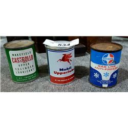 3 VINTAGE MOBIL, ROYALITE, CASTROLLA FUEL ADDITIVE TINS