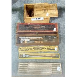 3 BOXES ANTIQUE WOOD BITS & ONE COLLAPSIBLE CARPENTER'S RULER