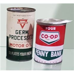 2 VINTAGE CO-OP & CONOCO COIN BANKS 4OZ & 5OZ