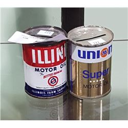 2 VINTAGE UNION 76 & ILLINI MOTOR OIL COIN BANKS 4OZ